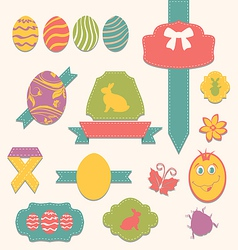 Easter scrapbook set - labels ribbons and other vector