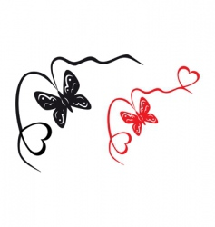 Abstract butterfly and hearts vector