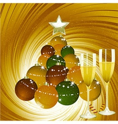 Christmas background with champagne and bauble vector