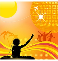 Abstract summer background with dj and disco ball vector