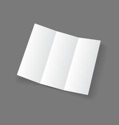 White open lying blank trifold paper brochure vector