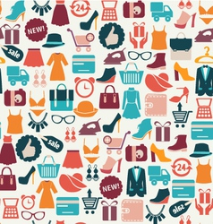 Fashion background shopping icons vector