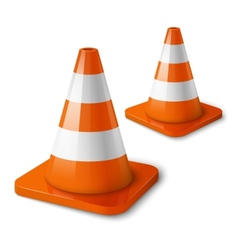 Realistic - orange road cones with stripes vector