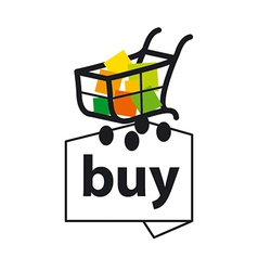 Logo basket with goods to buy vector