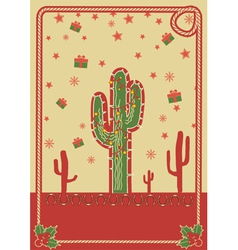 Cowboy christmas poster with cactus and rope frame vector