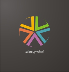Colorful star logo elements vector