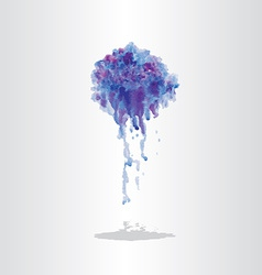 Watercolor splash blot with drops and splatter vector