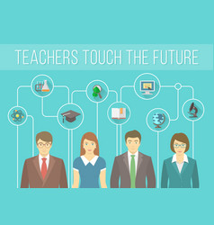 Teachers team with educational icons vector