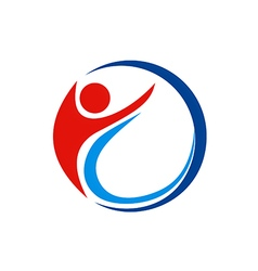 People sport abstract swoosh logo vector