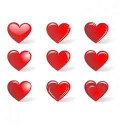 Red hearts collection vector