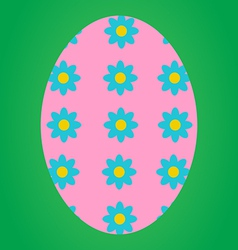 Pink easter egg with flower pattern vector
