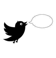 Black bird with speech bubble vector