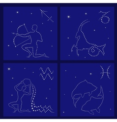 Four zodiac signs sagittarius capricorn aquarius vector