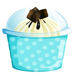 A blue dotted cupcake container vector