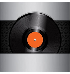 Vinyl record on brushed metallic background vector