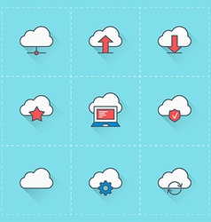 Cloud computing icons icon set in flat design vector