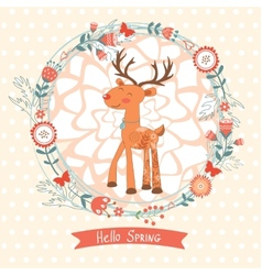 Hello spring concept card with deer vector