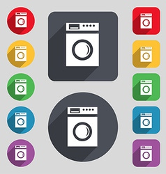 Washing machine icon sign a set of 12 colored vector