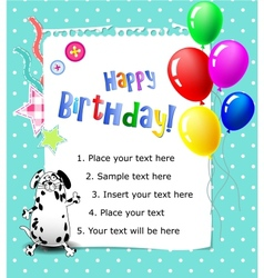 Baby happy birthday card blue vector