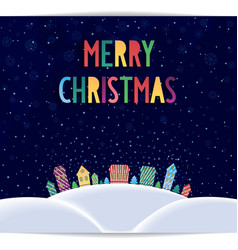 Merry christmas card with colored lettering design vector
