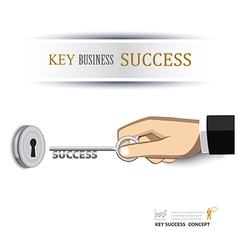 Hand unlock key success business vector