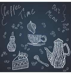 Coffee time set card vector