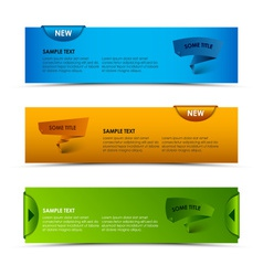 Modern horizontal banners with ribbons and vector