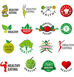 Biggest collection of logos healthy eating vector