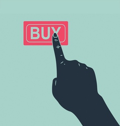 Hand pushing buy button vector