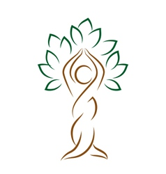 Yoga emblem with abstract tree pose isolated on vector