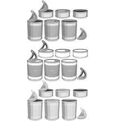 Canned food cans pack vector