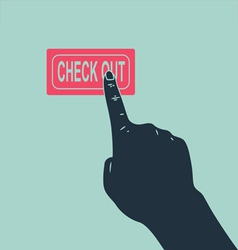 Hand pushing check out button vector