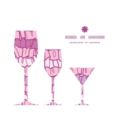 Pink ruffle fabric stripes three wine glasses vector