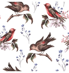 Vintage floral seamless background with birds vector