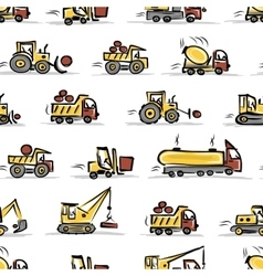 Set of construction equipment seamless pattern vector
