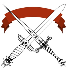 Vintage crossed daggers and red tape tattoo vector
