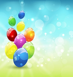 Easter set colorful eggs holiday background vector