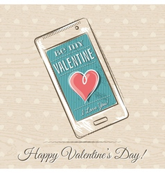 Valentine card with smart phone and red heart vector