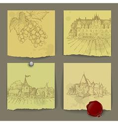 Set of wine elements vector