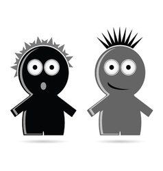 Funny grey and black people icon vector