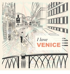 Bridge of sighs in venice vector