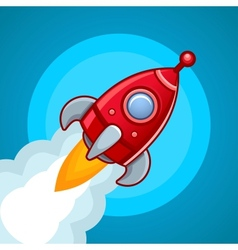 Fly rocket on blue sky vector