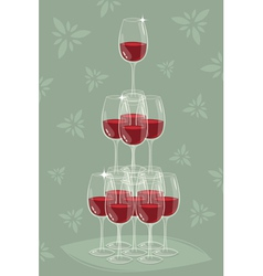 Glass tower of wine vector