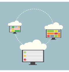 Three computer with clouds vector