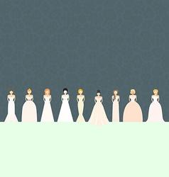 Brids in wedding dresses vector