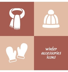 Winter accessories icons vector