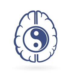 Ying yang and human brain symbols vector