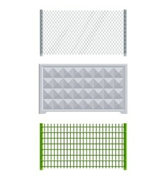 Meallic net and concrete fence vector