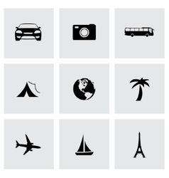 Black travel icons set vector