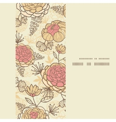 Vintage brown pink flowers vertical frame seamless vector